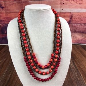Beautiful Coral/Red Açaí Seed Necklace